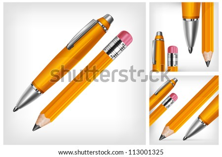 Pen & pencil isolated on white background, vector illustration