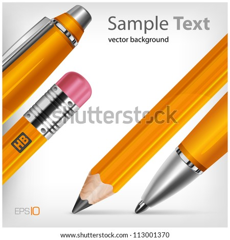Pen & pencil isolated with text on white background, vector illustration