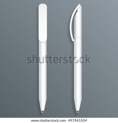 Pen, Pencil, Marker Set Of Corporate Identity And Branding Stationery Templates. Illustration Isolated On Gray Background. Mock Up Template Ready For Your Design. Vector