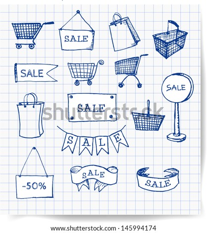 Pen sketches of shopping objects. Vector illustration.