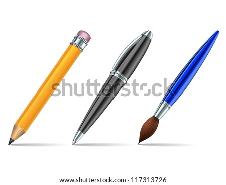 Pen tools isolated on the white background. Vector illustration
