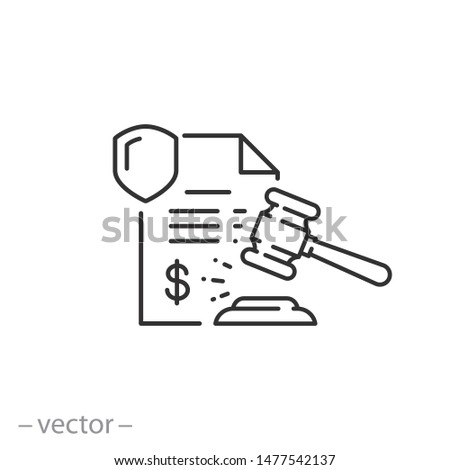 penalty icon, financial forfeit, surcharge, thin line symbol on white background - editable stroke vector illustration eps 10 Foto stock ©