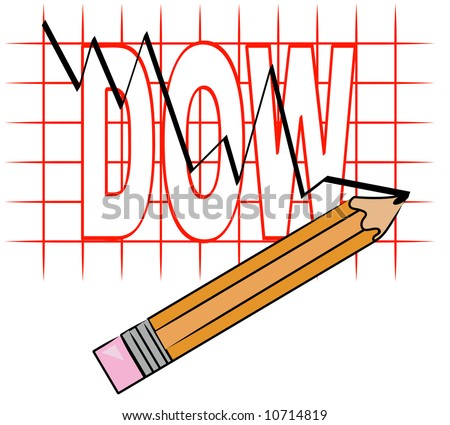 pencil and grid graph with dow going down - vector - stock vector
