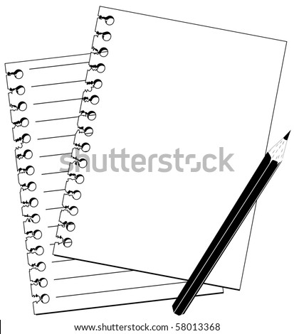pencil and notebook in black and white