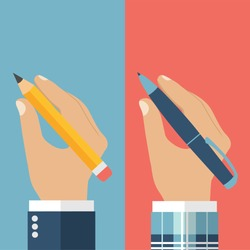 Pencil and pen hold in hand set for writing. Vector illustration, flat design. Writer, journalist, student. Hand writing man.