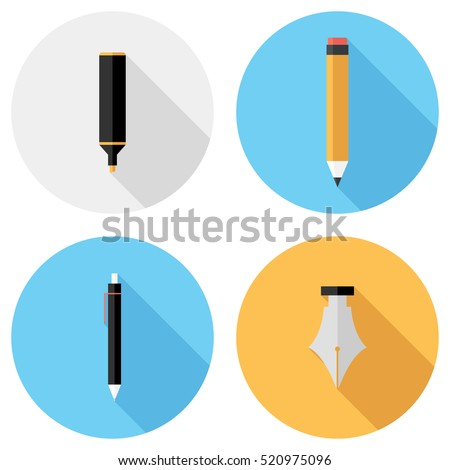 Pencil and pen icons . Flat design style modern vector illustration. Isolated on stylish color background. Flat long shadow icon. Elements in flat design.
