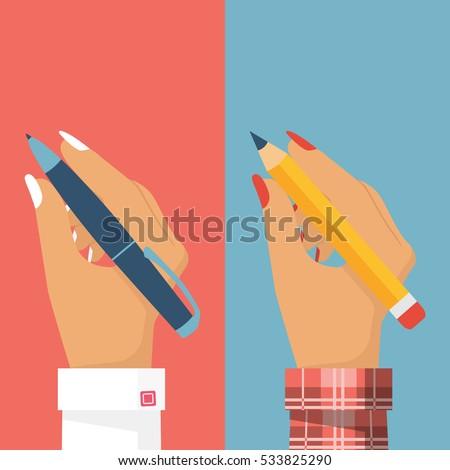 Pencil and pen in women hand, set. Female holding pen isolated, write, draw. Vector illustration, flat design. Writer, journalist, student. Businesswomen.