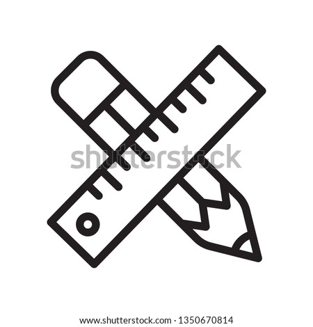 Pencil and ruler icon in trendy outline style design. Vector graphic illustration. Pencil and ruler icon for website design, app, logo, and ui. Vector file. EPS 10.