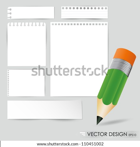 Pencil and white paper, ready for your message. Vector illustration. - stock vector