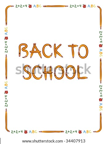 "Pencil, apple, and text border to fit 8.5"" x 11"" paper with ""Back to School"" lettering made from pencils"
