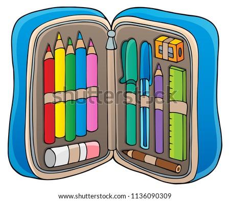 Pencil case theme image 1 - eps10 vector illustration.