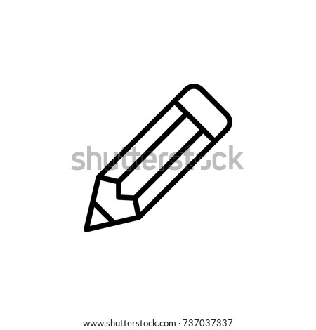 Pencil flat icon. Single high quality outline symbol of graduation for web design or mobile app. Thin line signs of education for design logo, visit card, etc. Outline logo of school