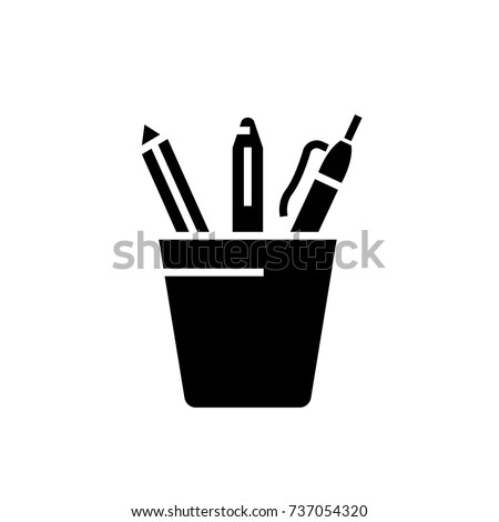 Pencil holder icon, vector illustration, black sign on isolated background stock photo