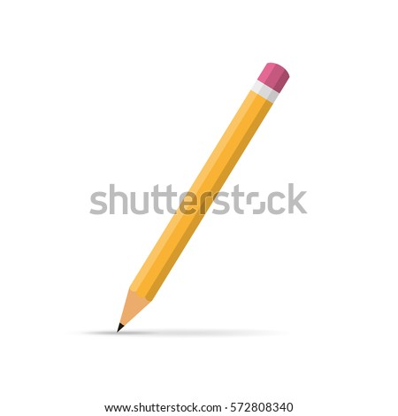 Pencil icon in flat design. Vector illustration. Pencil on white background with shadow.