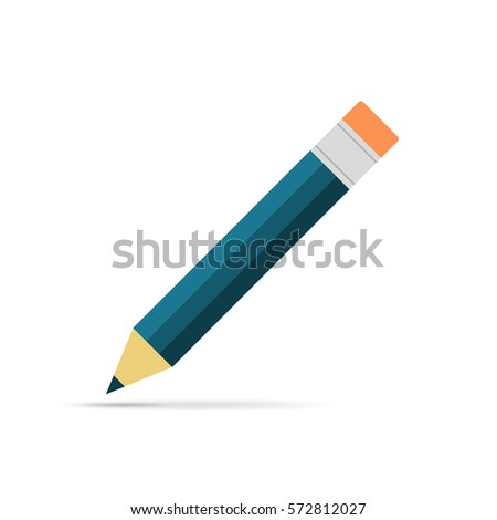 Pencil icon in flat design. Vector illustration. Pencil on white background with shadow. #572812027