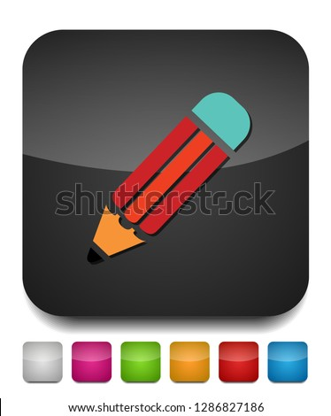 pencil icon isolated, pencil drawing with eraser, school sign and - office equipment - creative tool