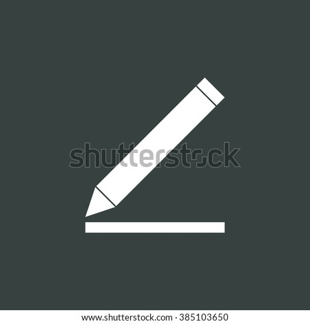 Pencil icon, on dark background, white outline, large size symbol
