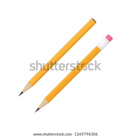 Pencil icon set in flat style. Two wooden pencils isolated on white background. Orange pencil with and without eraser. Vector illustration EPS 10.
