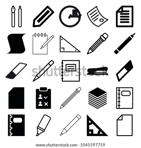 Pencil icons. set of 25 editable filled and outline pencil icons such as pencil, pen, triangle, eraser, paper, notebook, stapler, notepad, highlighter, document, circle