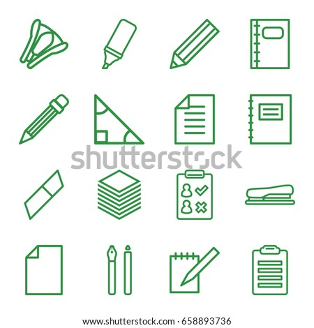 Pencil icons set. set of 16 pencil outline icons such as pencil, notebook, highlighter, stapler, paper, notepad, pen, triangle, eraser