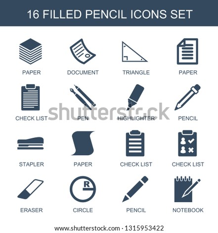 pencil icons. Trendy 16 pencil icons. Contain icons such as paper, document, triangle, check list, pen, highlighter, stapler, eraser, circle, notebook. pencil icon for web and mobile.