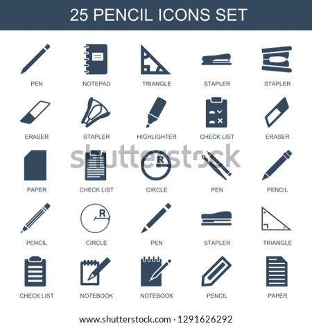 pencil icons. Trendy 25 pencil icons. Contain icons such as pen, notepad, triangle, stapler, eraser, highlighter, check list, paper, circle, notebook. pencil icon for web and mobile.