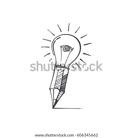 pencil-light image of the hand, the battery of ideas, creative tool, vector image