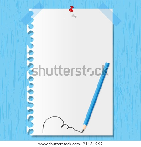 Pencil line and paper sheet on wooden backgrounds.