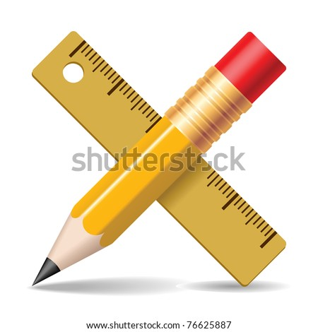 Pencil, ruler. Vector illustration.