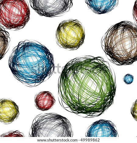 pencil scribble balls with different colors and seamless background pattern