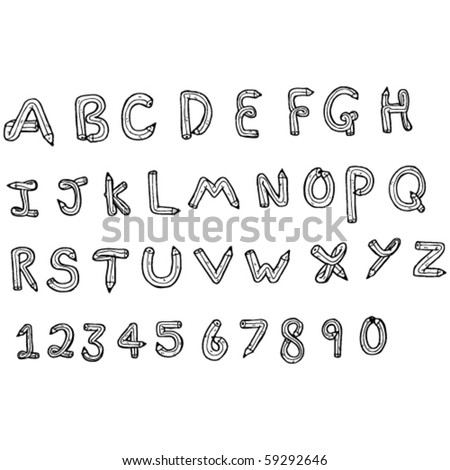 pencil shaped alphabet and numeral drawing
