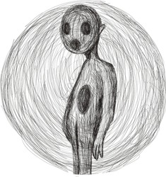 Pencil sketch Emotional style Linear shading Expression hand drawn panic attack psycho artwork panic Schizophrenia art mental disorder depression is the pain of loneliness Ballpoint Pen Art Scribble