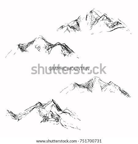 Pencil sketch mountain peaks. Vector design.