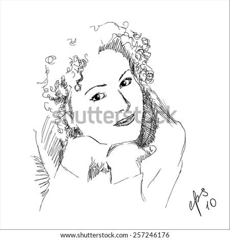 pencil sketch of woman