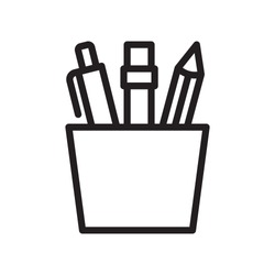 Pencil stand, stationery  icon in trendy outline style design. Vector graphic illustration. Pencil stand icon for website design, logo, and ui. Editable vector stroke. EPS 10.