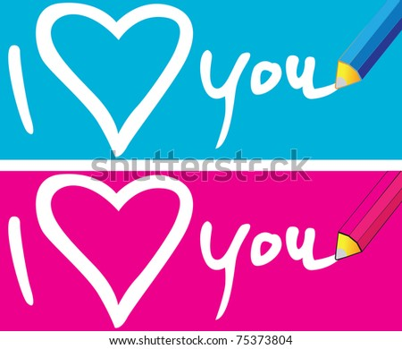 Pencil to write messages of love, On the ground blue and pink. - stock vector