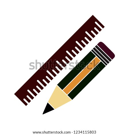 pencil with ruler isolated vector - education and office equipment illustration sign . measurement tools sign symbol