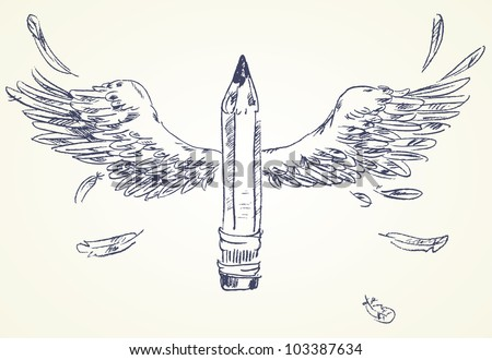 Pencil with wings. Hand-drawn. Vector version of raster image