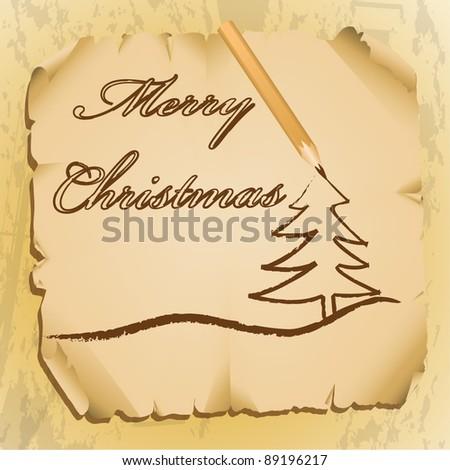 Christmas  on Pencil Writing Christmas Greetings Stock Vector 89196217