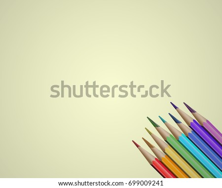 Pencils background. Isolated vector pencils. Colour pencils illustration. Pencils on white.