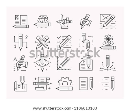 Pencils set of vector icons. #1186813180