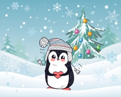 Penguin animal in hat and heart with winter landscape on the background. Funny polar winter bird banner poster greeting card. Cartoon character wild penguin in flat style design. Vector illustration