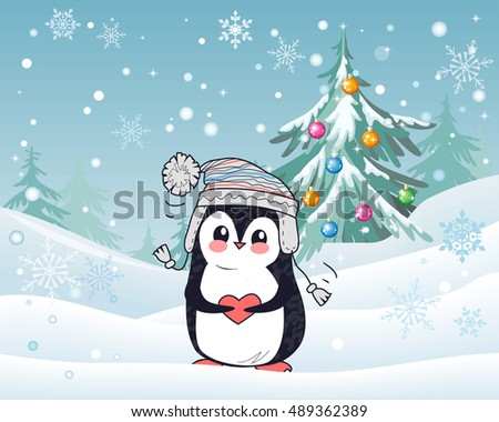 penguin animal in hat and heart