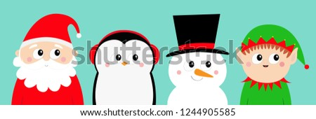 2dd924231a61b Penguin bird Snowman Santa Claus Elf round head face icon set. Merry  Christmas. New