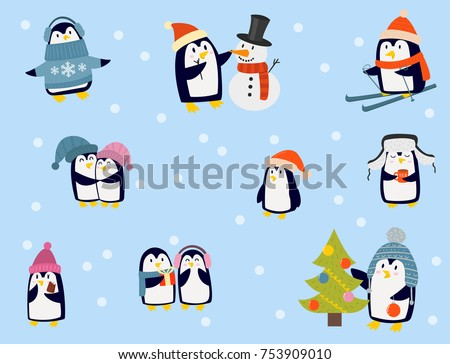 penguin christmas vector