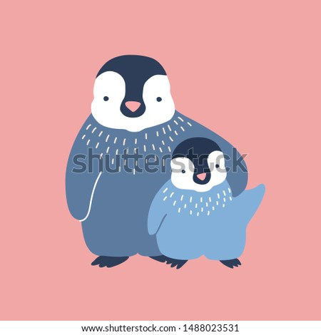 Penguin cuddling its baby or chick isolated on white background. Family of wild Antarctic birds. Parent with youngling, mother and child. Fauna of Antarctica. Flat cartoon vector illustration. Stockfoto ©