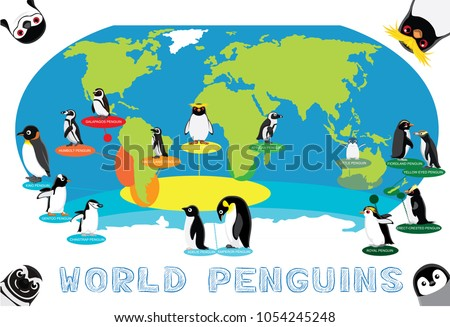 Funny world map vector download free vector art stock graphics penguin distribution world map cartoon vector gumiabroncs Choice Image