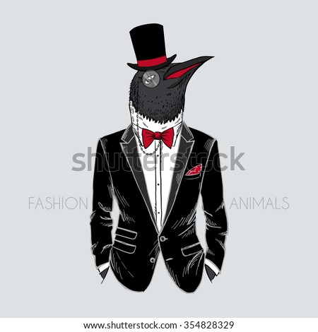 penguin dressed up in tuxedo