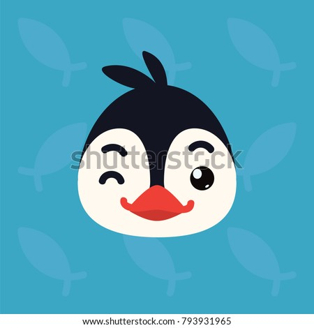 Penguin emotional head. Vector illustration of cute arctic bird shows playful emotion. Blinking emoji. Smiley icon. Print, chat, communication. Penguin in flat cartoon style on blue background.