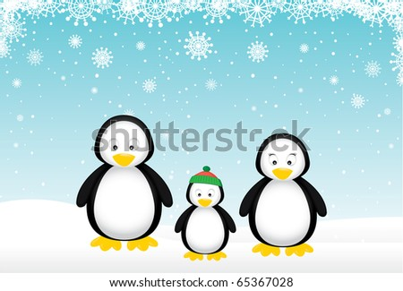 Penguin family wishes you a Merry Christmas.
